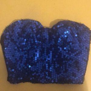 Tops - Sequin Blue Halter / bustier / crop top / half top